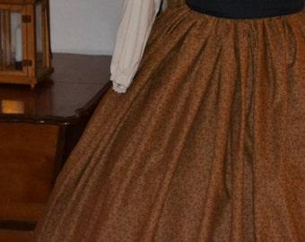 Civil War Pioneer Colonial Brown Floral Print Skirt Only