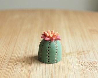 Clay Cactus Figurine - one miniature clay figure, parodia, table decor, cute desk accessories, shelf decorations, mini plants