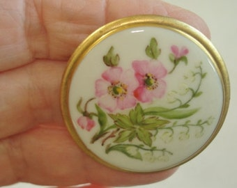 Pink  Flowers Leaf Brooch Multi Tone