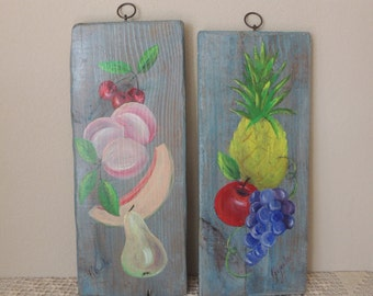 Signed Handpainted Fruit Wood Panels Wall Hangings. Charming Light Blue Green Wood Plaque Farmhouse Decor. Pair of Painted Wood Planks.