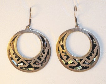 Vintage Large Mexico Sterling Silver and Abalone Pierced Wire Dangling Hoop Earrings (E-2-2)