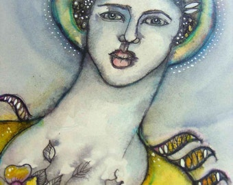 Divine Messenger - Original ink and wash painting on paper.