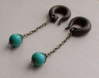 Green Turquoise Bud Drop Gauged Earring Plugs