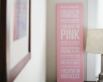 """Audrey Hepburn """"I Believe in Pink"""" Quote Pink Canvas - 12x36in"""
