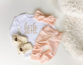 Limited edition | little sister | peach baby outfit | newborn baby girl | take home outfit | bringing home baby | baby girl bodysuit |