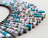 Japanese Calligraphy Necklace - Chunky jewelry - First year wedding anniversary gift - Paper bead necklace - Big Necklace - Bold necklace