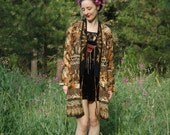 Free Size... Flowing Ethnic Kimono Jacket... Earth Tone Paisley Print... Boho Layering Piece