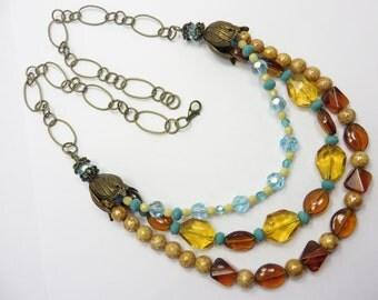 Glass Bead Necklace Blue Amber Topaz Triple Strand Boho Free Shipping
