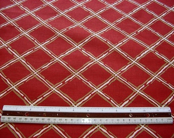 SALE Vintage 70s Decorator Fabric - Ox Blood Red, Gold, Ivory Lattice Plaid Drapery Cotton -Great Deal 4 Window Dressing Valances BTY
