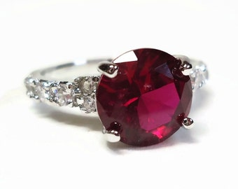9K GF CZ Ruby & Diamond Cocktail Ring Size 10 in 4 CTW Prong Set White Gold Filled Setting - Vintage 70's Cubic Zirconia Costume Jewelry