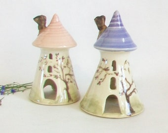 Fairytale Tower -Miniature -  Purple or Pink Roof - Rapunzel - Night Light - Hand Made - Hand Painted - Ready to Ship