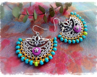 Indie BOHO earrings Yoga Lotus Macrame Bikini jewelry Colorful Summer Turquoise beaded earrings Oriental jewelry festival earrings GPyoga