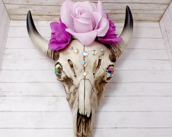 Rhinestone And Floral Decorated Resin Cow Skull Wall Art
