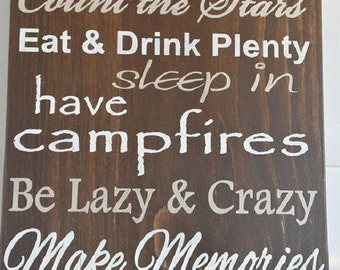 Cabin Rules sign, typography, vacation home sign, lake house sign