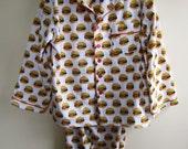 Flannel Pajamas Retro 80s Burgers Hamburger Super Bowl Unisex Plus Size XL - Extra Large