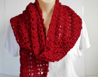 Long Red Scarf, Crochet Burgundy Lacey Soft Handmade Scarf, Gift  for Women, Any Size Crochet Wrap Scarf