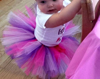 Custom Personalized Polka Dot 1st Birthday Shirt + Tutu Outfit  (any age) Hot pink purple white