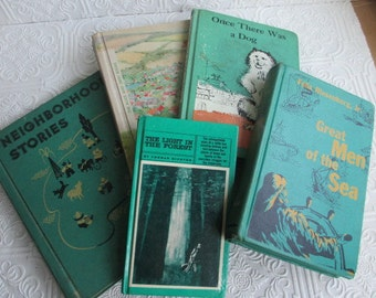DISTRESSED VINTAGE BOOKS 5 Seafoam Green Books  -  Juvenile Novels Childrens Schoolbook Readers Instant Library Collection Home Decor