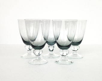 Vintage Smoke Gray Wine Glasses / Clear Stems / Set of 5