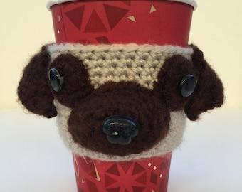 Pug Cup Cozy, Coffee Cozy, Dog Cozy