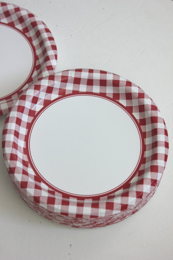 Sale 16 RED or BLUE CHECKERED Paper Plates Gingham Nautical Picnic Navy Blue Beach Wedding Bridal Shower Birthday Party Dinner Tableware 10\  from ... & Sale 16 RED or BLUE CHECKERED Paper Plates Gingham Nautical Picnic ...