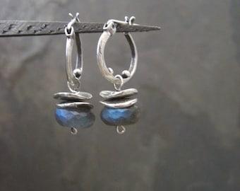 Labradorite hoops, small hoops, labradorite dangle, silver hoops, gemstone hoops, blue gray, silver dangle, oxidized hoops, blue flash