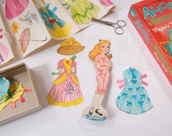 "1972 Alice in Wonderland Paper Doll boxed set / Walt Disney Whitman 9.5"" doll with 21 piece wardrobe"
