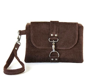 Cell Phone Wristlet - Cell Phone Clutch - Brown Clutch Bag - Brown Wristlet - Cell Phone Bag - Brown Cell Phone Clutch - Brown Clutch