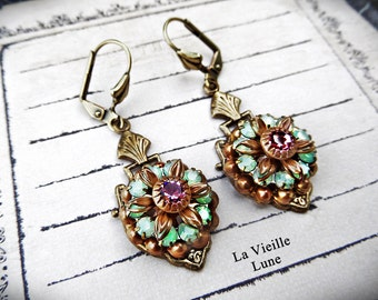Green Victorian Earrings, Rhinestone Flower Earrings, Vintage Jewel Earrings, Victorian Jewelry