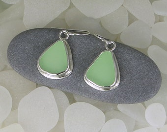 Seafoam Green Sea Glass Bezel Earrings