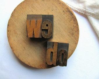 "Vintage Letterpress ""we do"" Wedding Printer Block Valentine Day Engagement Gift I do Love Stamp Wedding Decor Bride Groom Wood Type Printing"