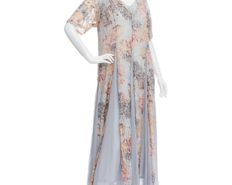 Free Shipping//Vintage 80's Indian Pastel Floral Lace BABYDOLL Crinkle Hippie Boho Prairie Tent Summer Midi DRESS