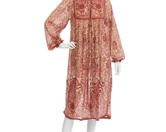 Vintage 70's Indian Ethnic Sheer Cotton Gauze FLORAL Bib Puff Sleeves Hippie Boho Festival Tent Midi DRESS