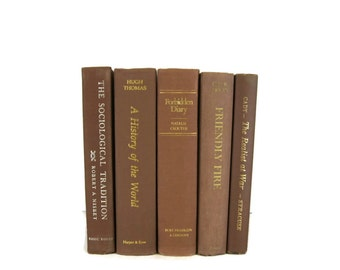 Brown Vintage Decorative Books , Book Home Decor ,  Vintage books for Wedding Decor