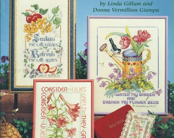 BIBLICAL GARDEN Counted Cross Stitch Samplers American School Of Needlework #3676 Pattern Book