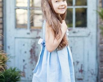 Blue flower girl dress -  Rustic Linen flower girl dress in light blue - Special occasion linen girl dress - Blue girl dress