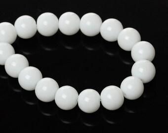 25 White Glass Beads 10mm Beautiful Basic Glass Bead - BD675