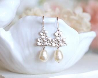 Silver Lilac Flower Earrings Cream White Teardrop Pearl Earrings Bridal Earrings Wedding Earrings Bridesmaid Earrings Wedding Jewelry Gift