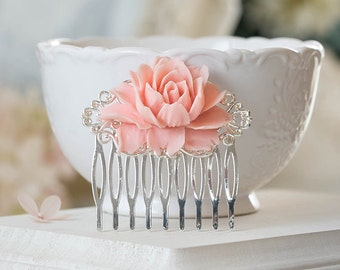 Pink Flower Hair Comb Silver Filigree Hair Comb Blush Wedding Hair Accessory Silver Bridal Hairpiece Maid of Honor Bridesmaid Gift Rose Comb