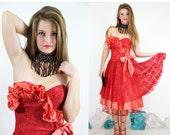 Vintage Ruffleled RED Layered Sheer LACE Dress ROMANTIC Cocktail // Vintage Clothing by TatiTati Style on Etsy