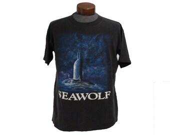 Vintage Seawolf Submarine US Navy Military T-shirt Size Large / XL