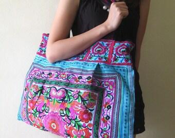Ethnic Hmong Vintage Style Beach Tote Thai Hobo Boho Shoppers Shoulder Bag