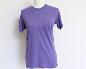 Vintage Pocket Tshirt Small Purple // Soft Thin T Shirt // Pocket Tee 50 50 Small Womens Tee