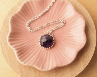 Amethyst Silver Pendant,Gemstone Necklace, Amethyst Silver Pendant Necklace, Birthstone February Pendant