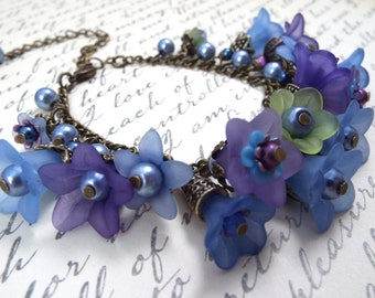 Forget Me Nots Charm Bracelet - Blue Flower Jewelry