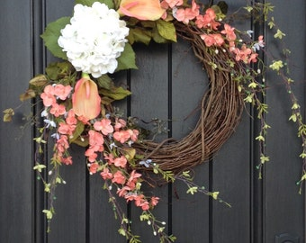 Spring Wreath Summer Wreath Floral Green White Wispy Branches Door Wreath Grapevine Wreath Decor-Coral-Peach-Calla Lilies Easter-Mothers Day