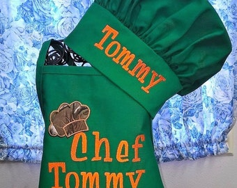 Child Apron with Chef Hat Personalized Apron Set Children