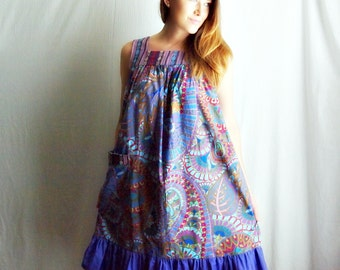 Boho dress summer dress for women purple colorful cotton dress ethnic dress trapeze dress