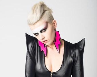 UV Lightning Bolt Punk Earrings Neon Pink PR