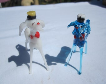 Two Standing Glass Dog Figures